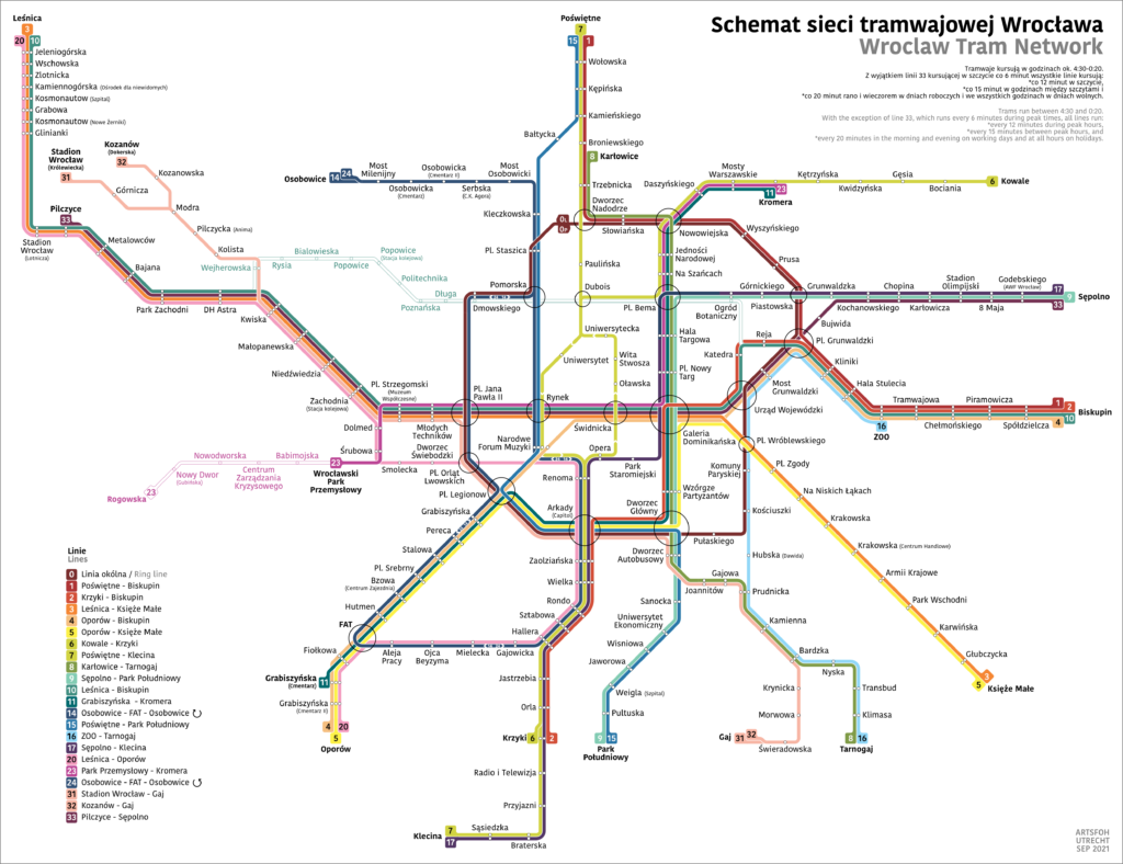 Schematic Map Trams in Wroclaw