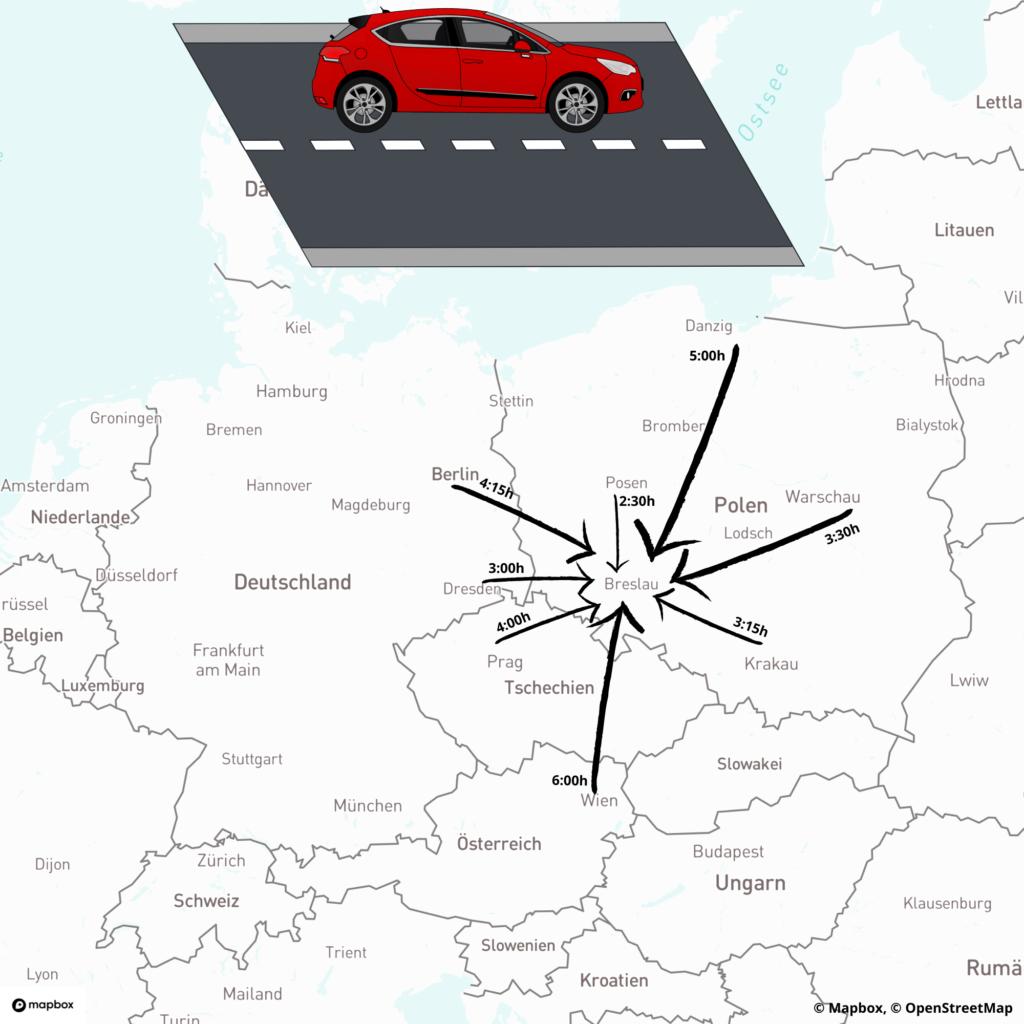 Anreise per Auto nach Breslau