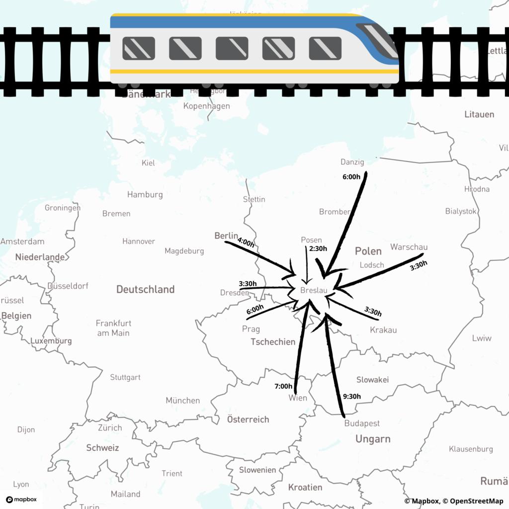 Zugverbindungen nach Breslau