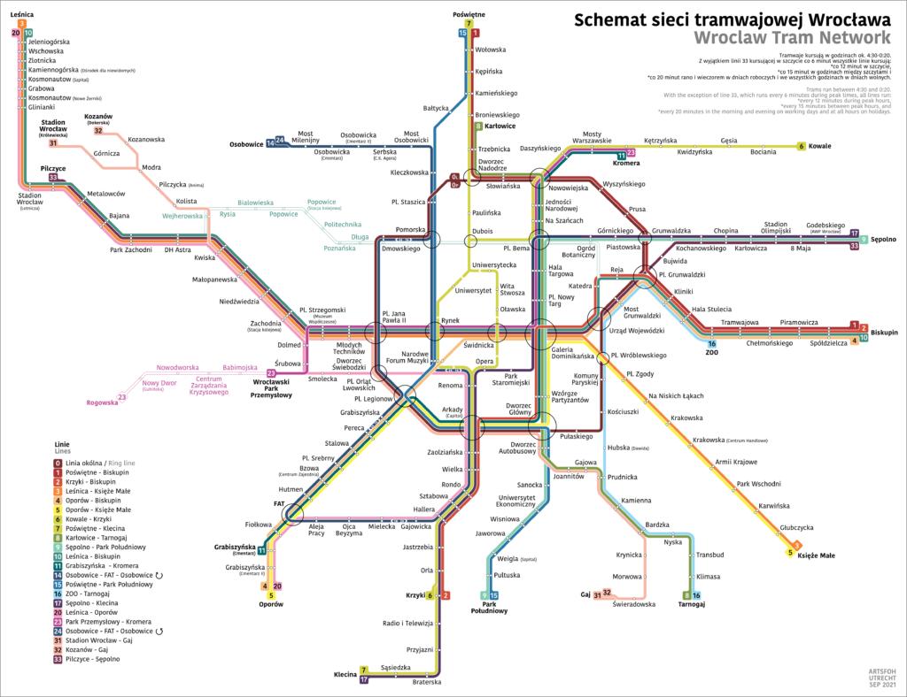 Breslau Netzplan Straßenbahn