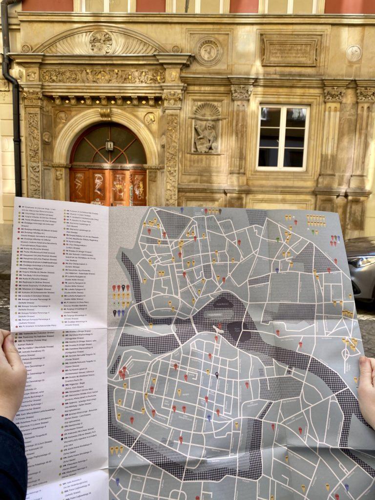Karte Unter dem Verputz lugt Breslau hervor