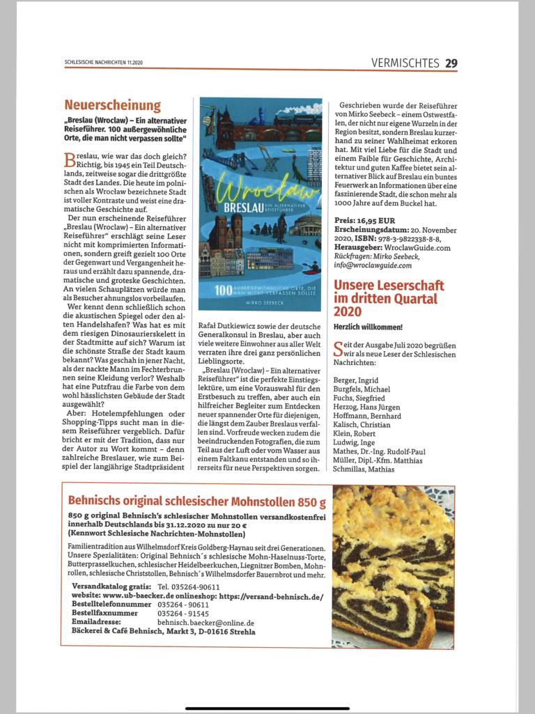 Schlesische Nachrichten Breslau Reiseführer
