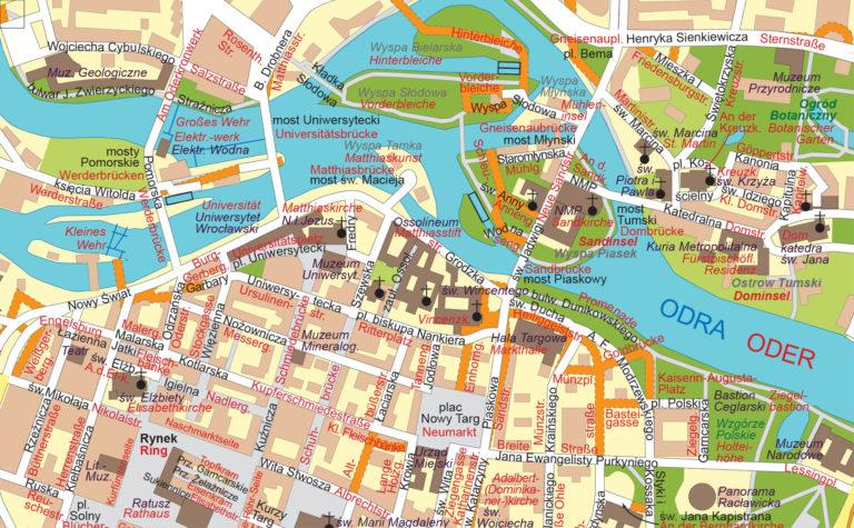 Zweisprachiger Stadtplan Breslau