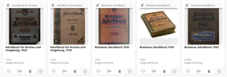 Alte Adressbücher aus Breslau